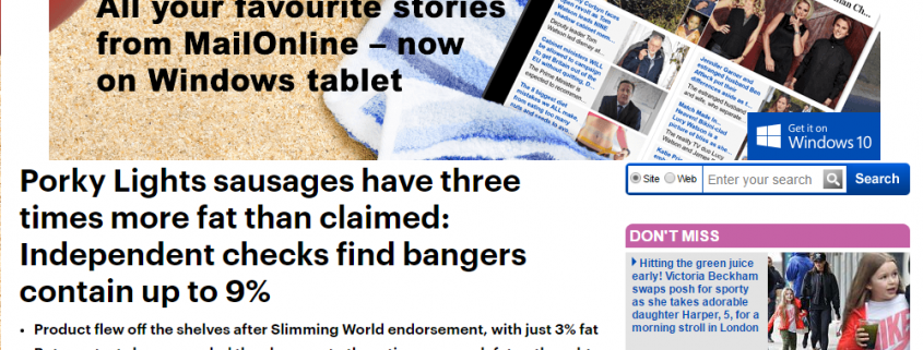 Mail Online Sausagegate article header